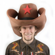 Giant 50 gallon foam cowboy hat available in bright colors with contrasting  colored star and band. Made of 1 2